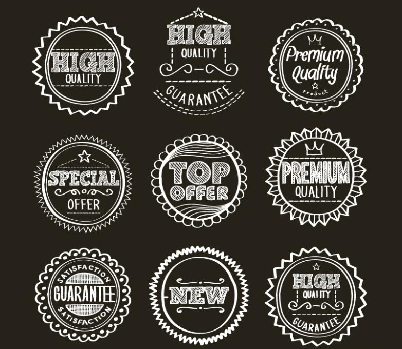 Nine New Hand-painted Quality Promotion Label Vector