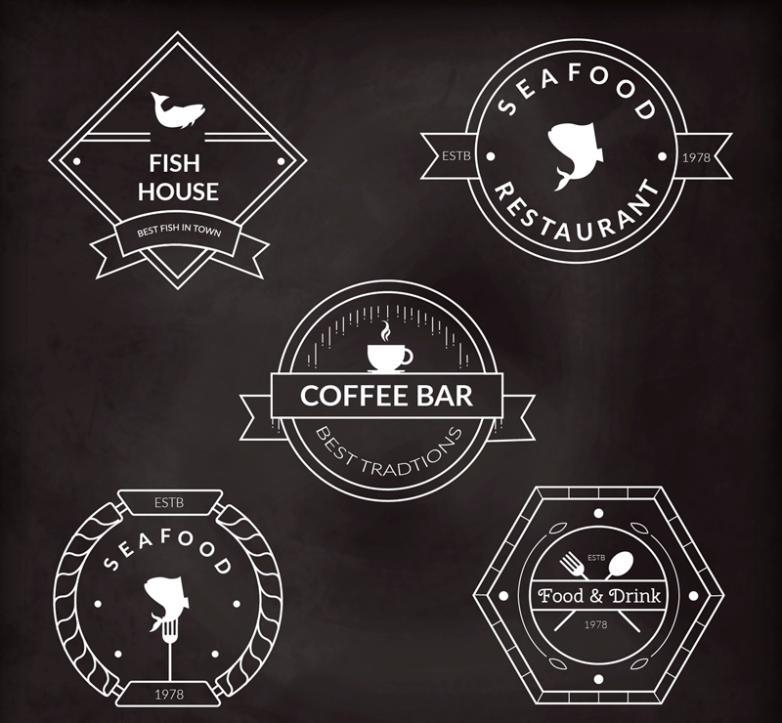 5 Creative Food Labels Vector