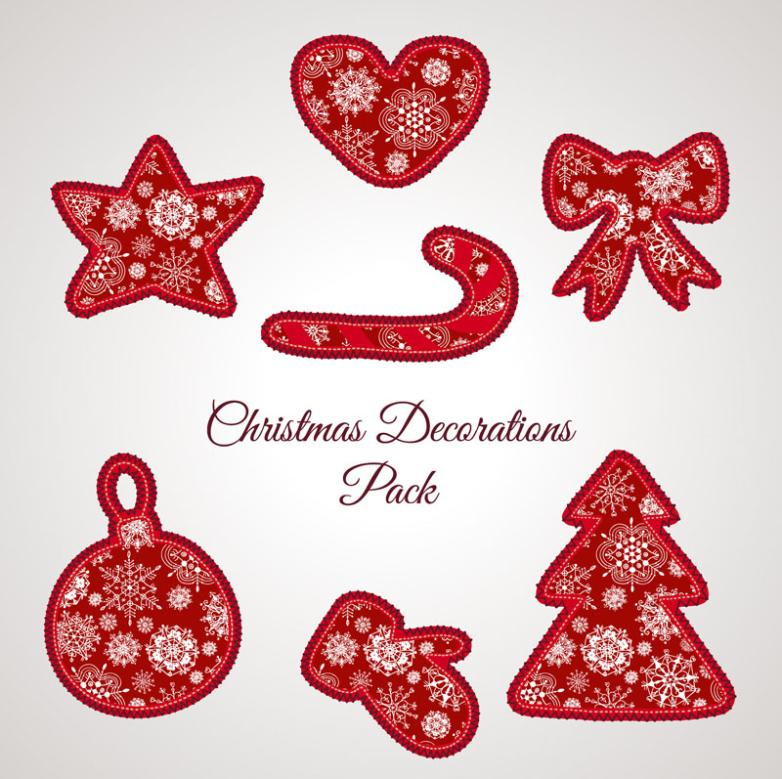 Seven New Red Christmas Decorative Pattern Elements Vector