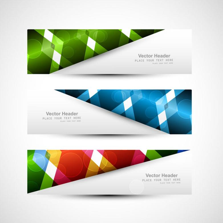 Three Color Fashion Banner Vector