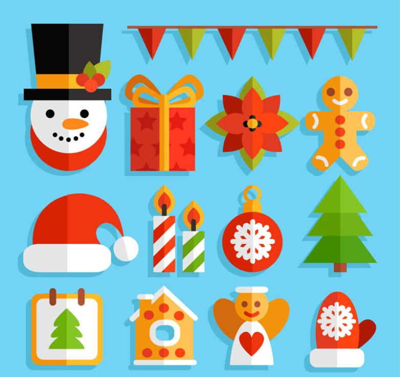 14 Color Christmas Elements Vector