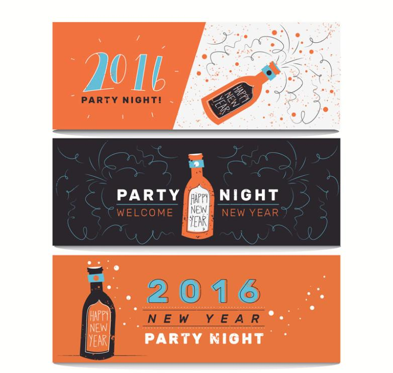 Three Party Banner In 2016 Vector