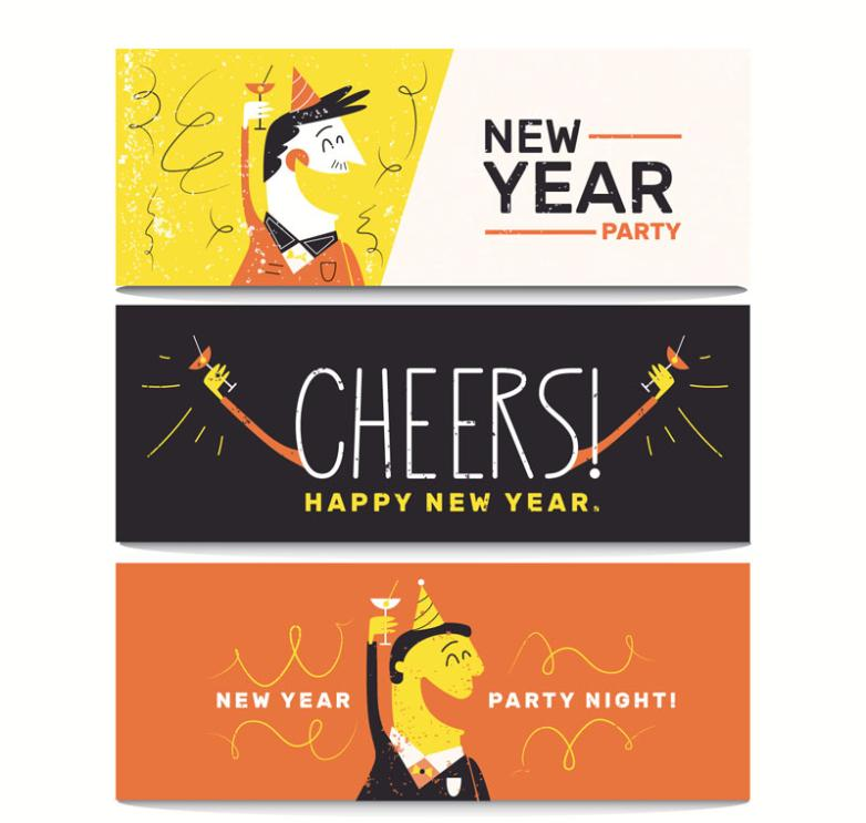 Three Color Party Banner In The New Year Vector