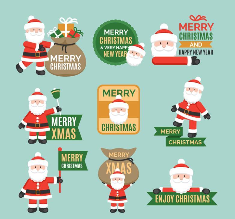 Nine New Cute Santa Claus Vector