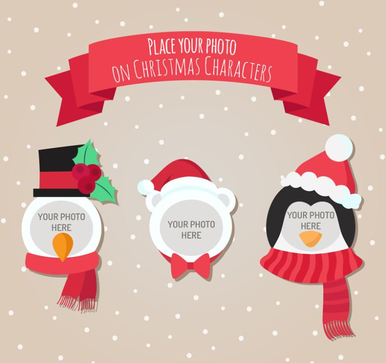 Three Roles Christmas Photo Frame Vector