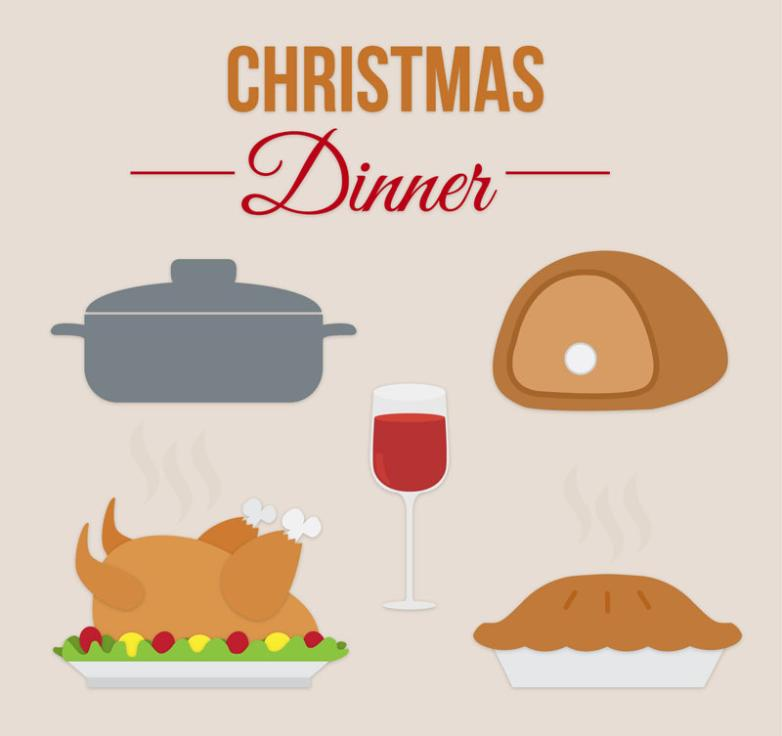 5 Cartoon Christmas Meal Elements Vector