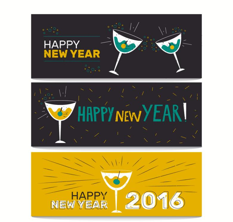 3 In 2016 New Year Cocktail Banner Vector