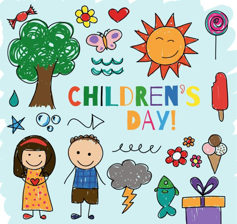Children's Day 20 Coloured Drawing Or Pattern Elements Vector