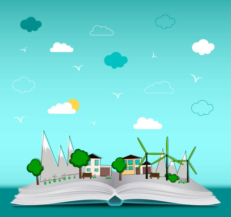 Green City Illustrations Of The Book Vector