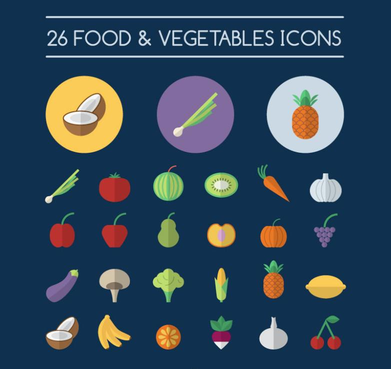 26 Fruits And Vegetables Icon Vector