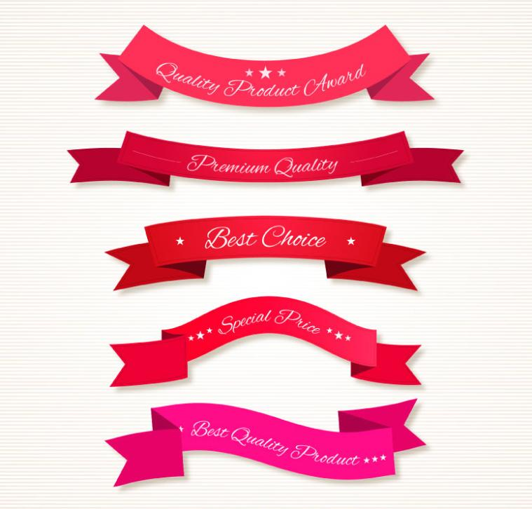 Five Red Promotional Ribbons Banners Vector