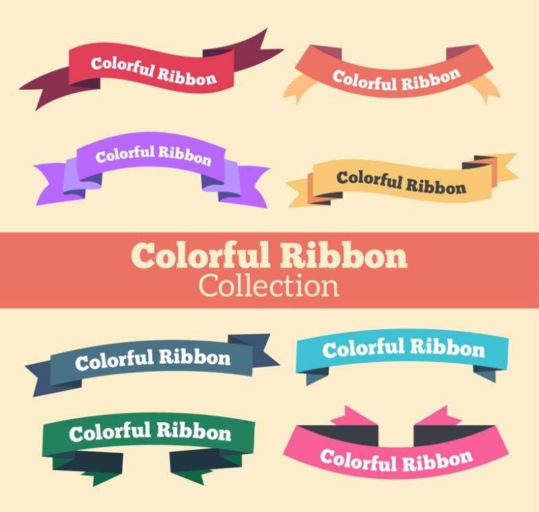 Eight Banners Color Ribbon Vector