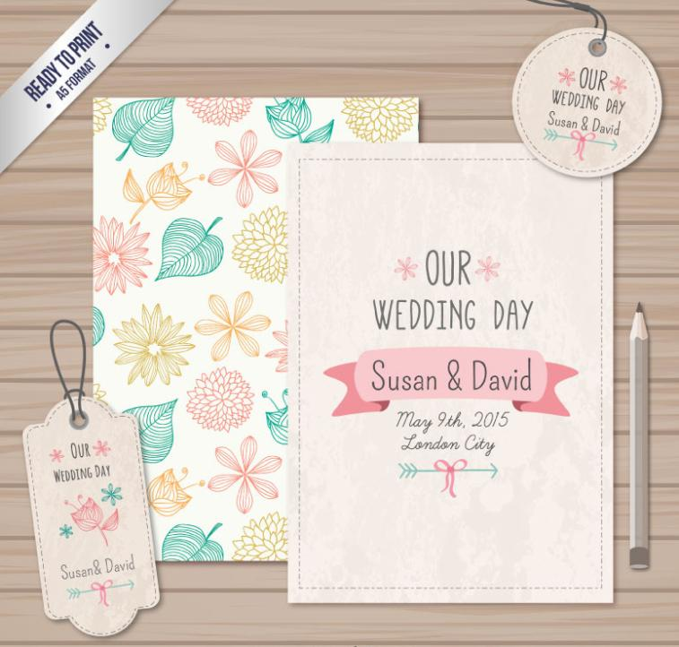 Painted Flowers Wedding Invitation Card Vector