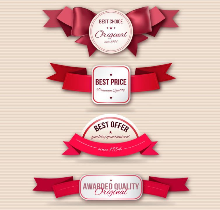 4 Promotion Label With Red Ribbon Vector