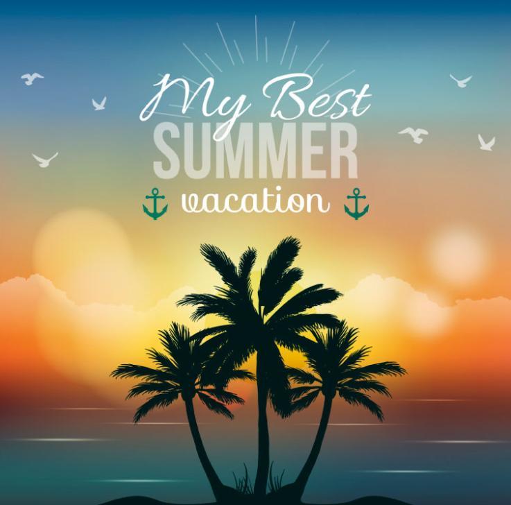 Coconut Palm Island Illustration In Summer Vector