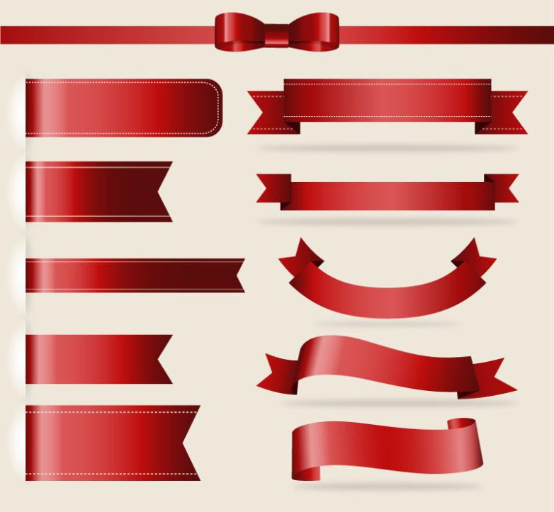 11 Red Ribbon Design Vector