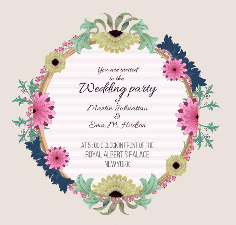 Colorful Flowers Wedding Invitation Card Vector