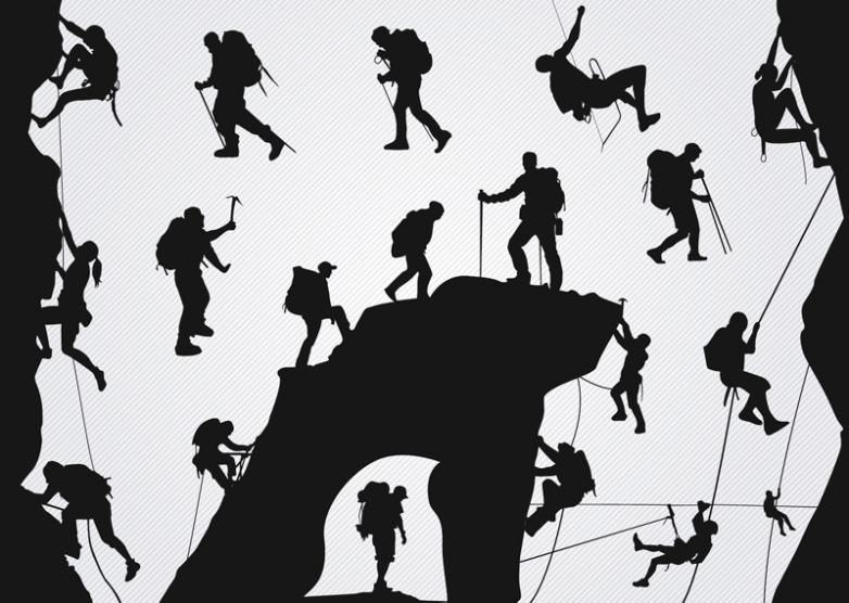 19 Outdoor Rock Climbing And Mountaineering Silhouette Vector