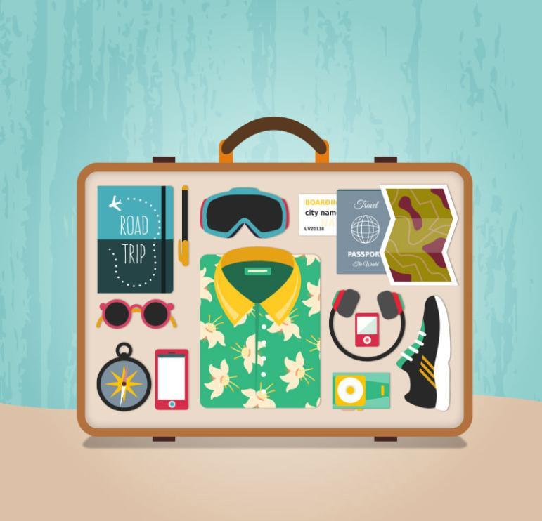 Creative Suitcase Internal Figure Vector
