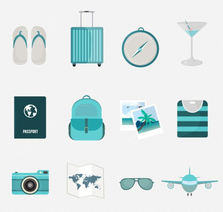 12 Fresh Travel Icon Vector