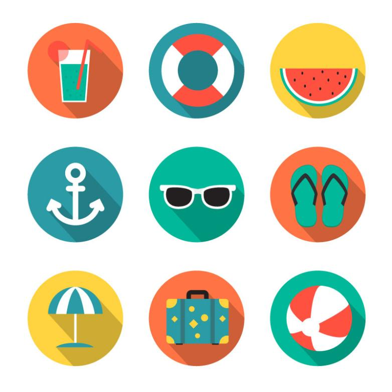 Nine New Round Icon For A Holiday Vector