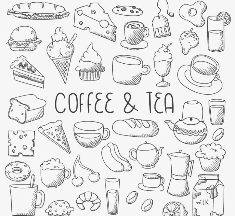 Hand-painted Coffee And Dessert Vector