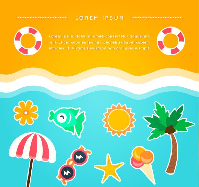 Summer Beach Vacation Elements Vector