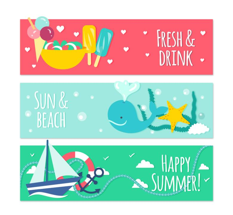 Three Elements Banner In Summer Vector