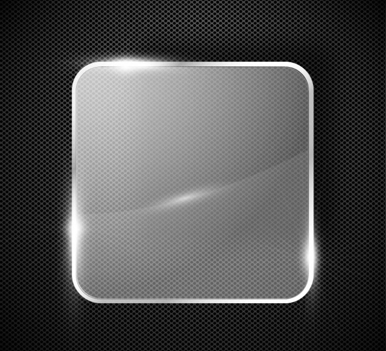 Square Glass Label Metal Background Vector