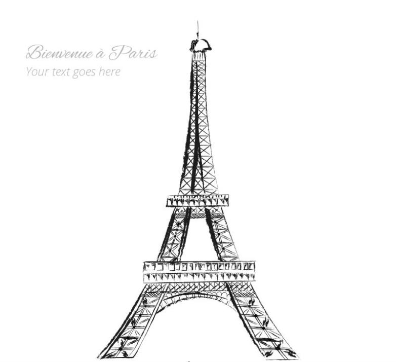 Hand Draw The Eiffel Tower Vector