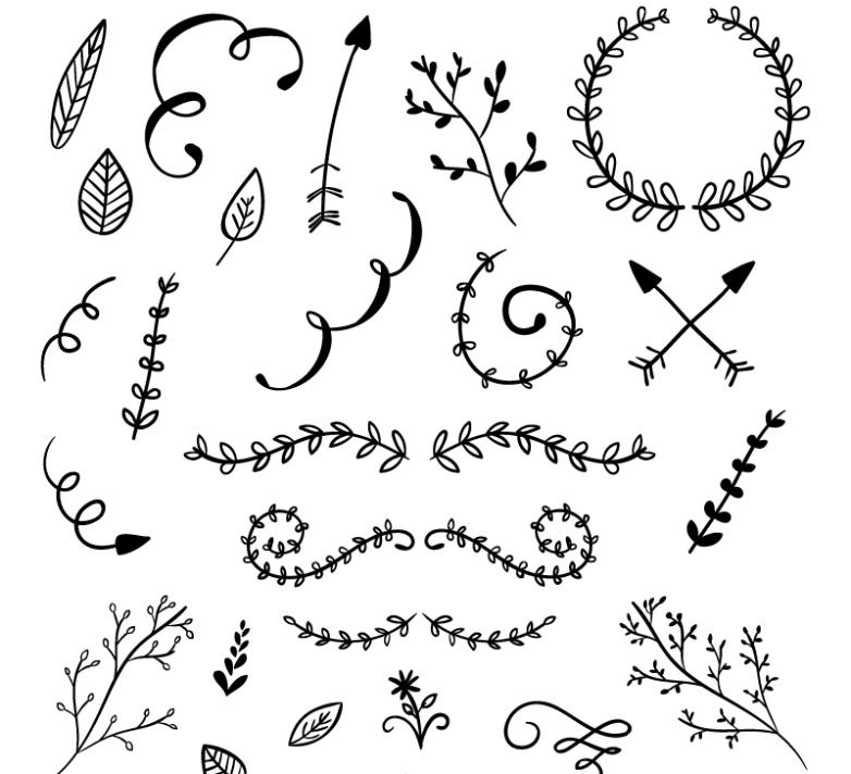 25 Hand-painted Design Of Lace And Branches Vector