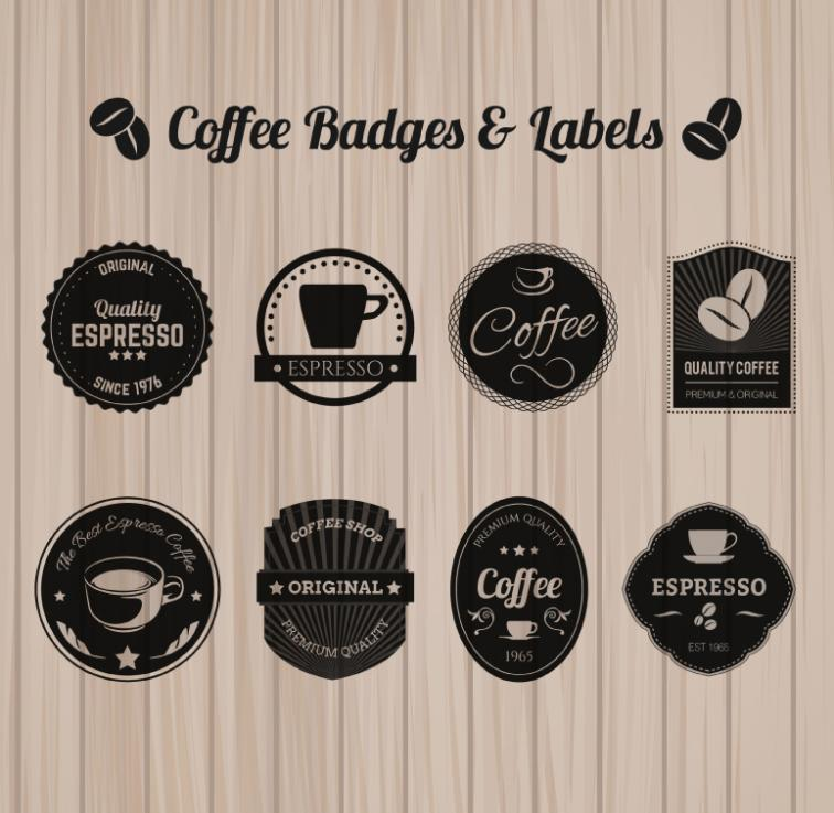 Eight Black Coffee Label Design Vector