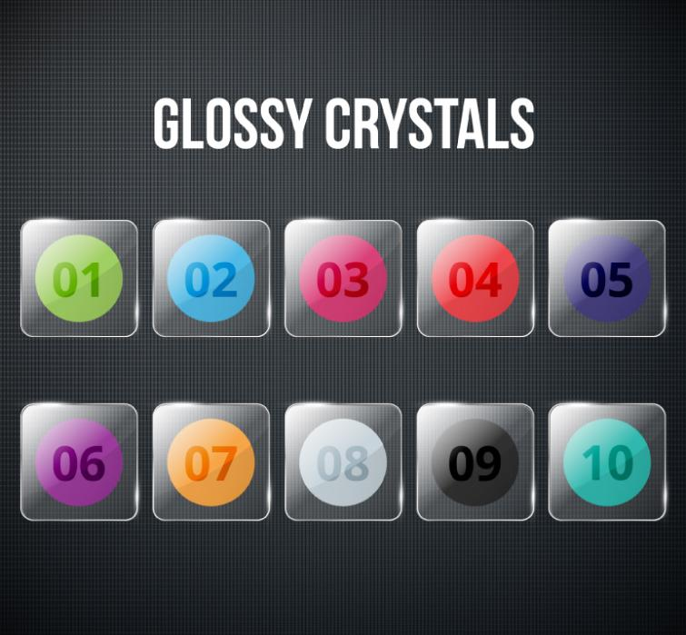 10 Glass Texture Digital Icon Vector