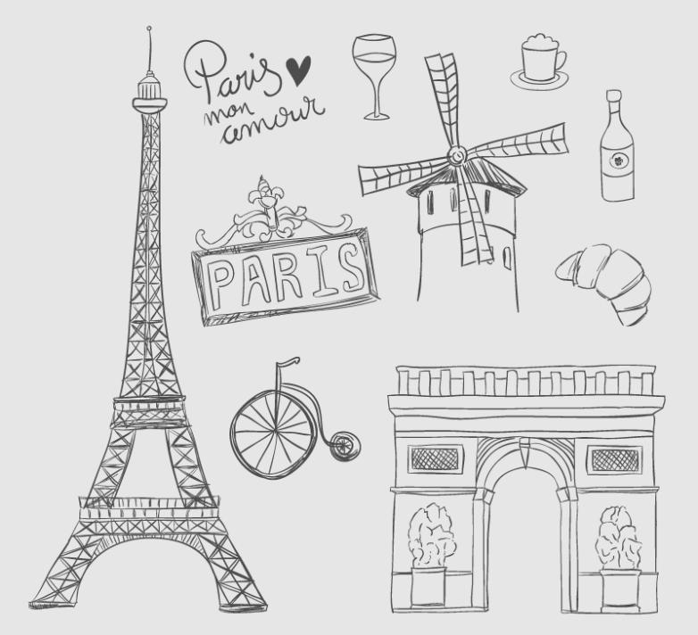 10 Hand-painted Elements In Paris Vector