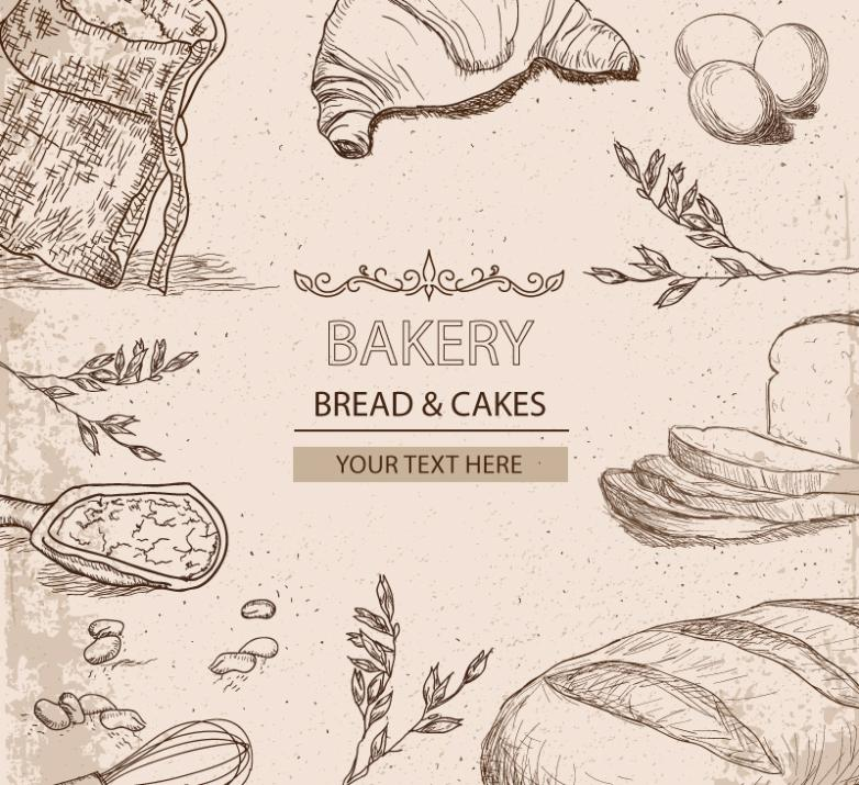 11 Hand-painted Baking Elements Vector
