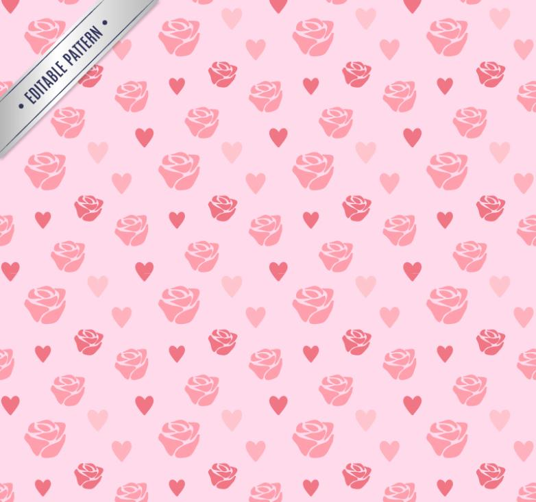 Pink Roses And Love Seamless Background Vector