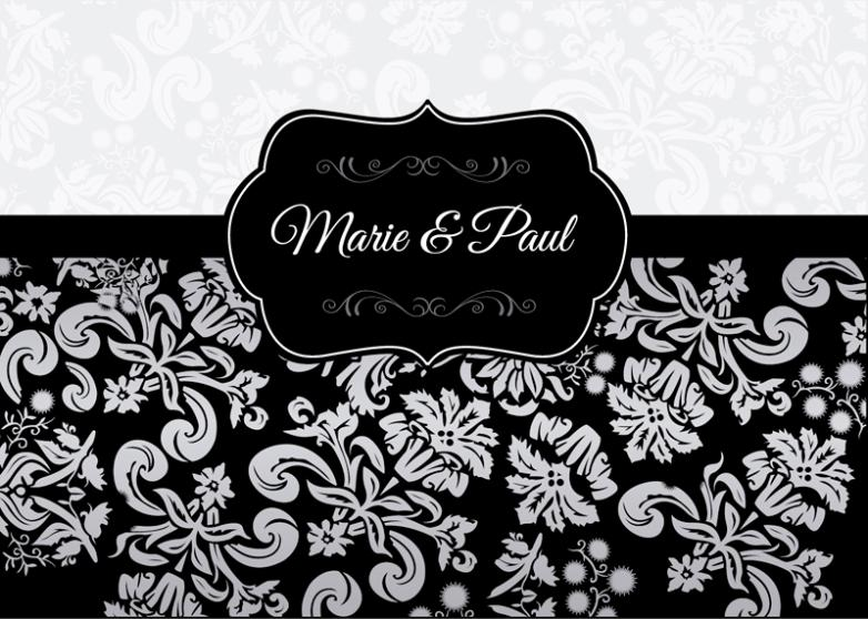Elegant Black Decorative Pattern Wedding Invitation Card Vector