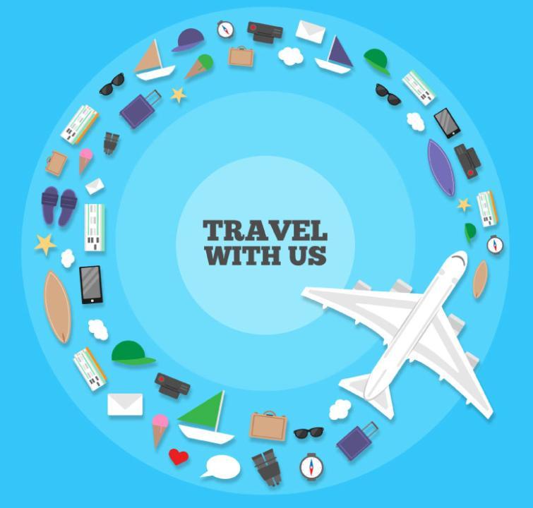 Creative Travel Element Combination Ring Vector
