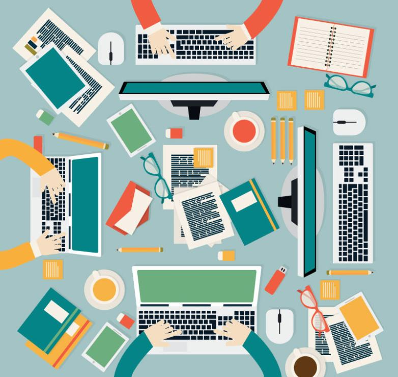 Business Conference Desk Top View Vector