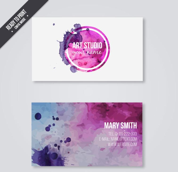 Watercolor Ink Business Card Vector