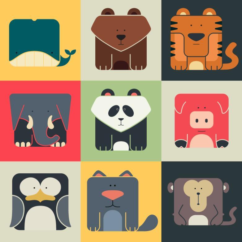 9 Square Animal Icon Vector