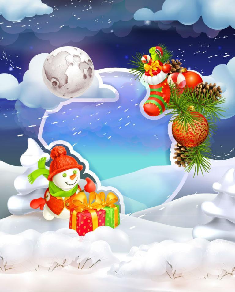 A Snowman Christmas Cards Vector