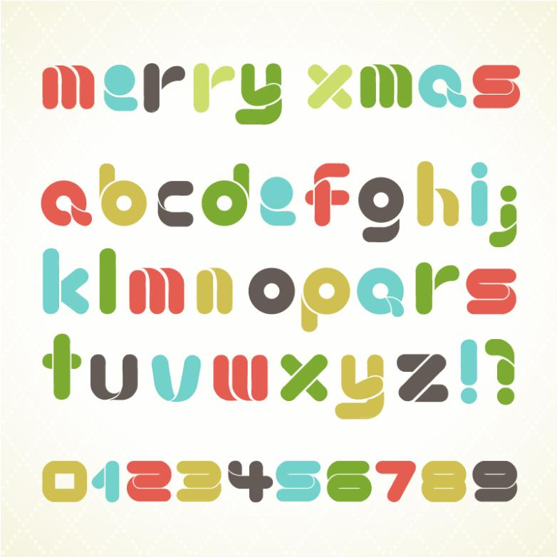 Colored Christmas Letters And Numbers Vector
