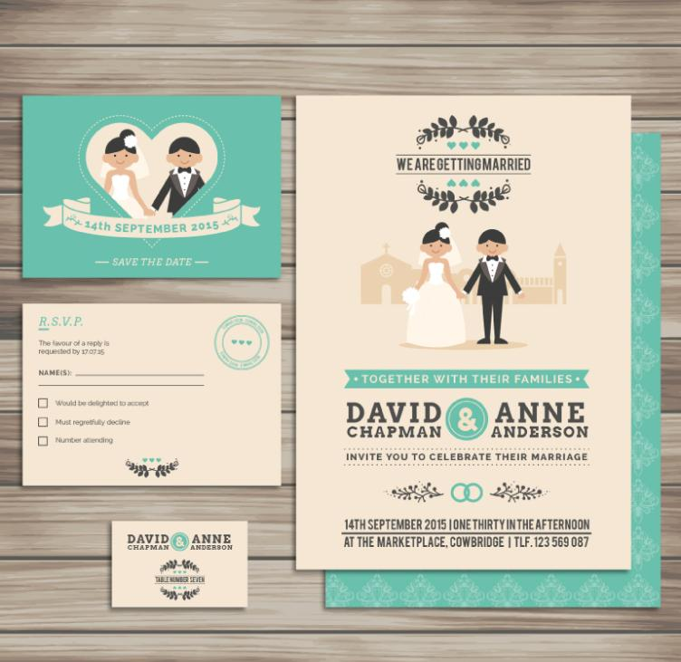 4 Cartoon Wedding Cards Vector