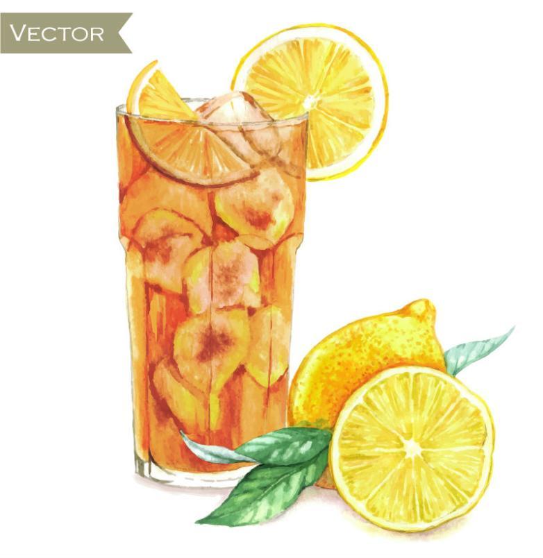 Watercolor Lemon Cocktail Vector