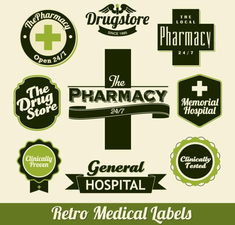 Nine New Retro Green Health Care Label Vector