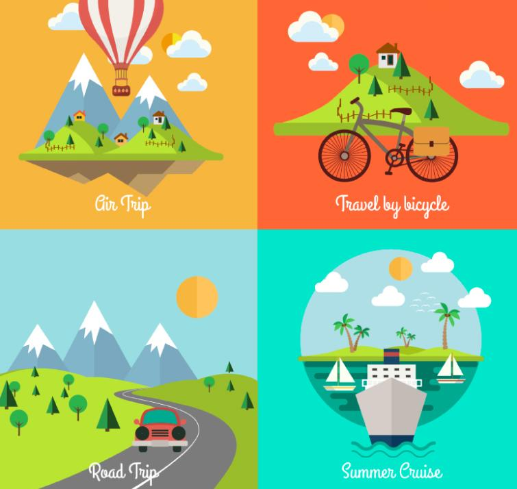 4 Cartoon Landscape Designs Vector