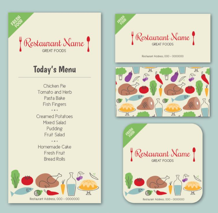 Three Coloured Drawing Or Pattern Restaurant Menu Cards Vector