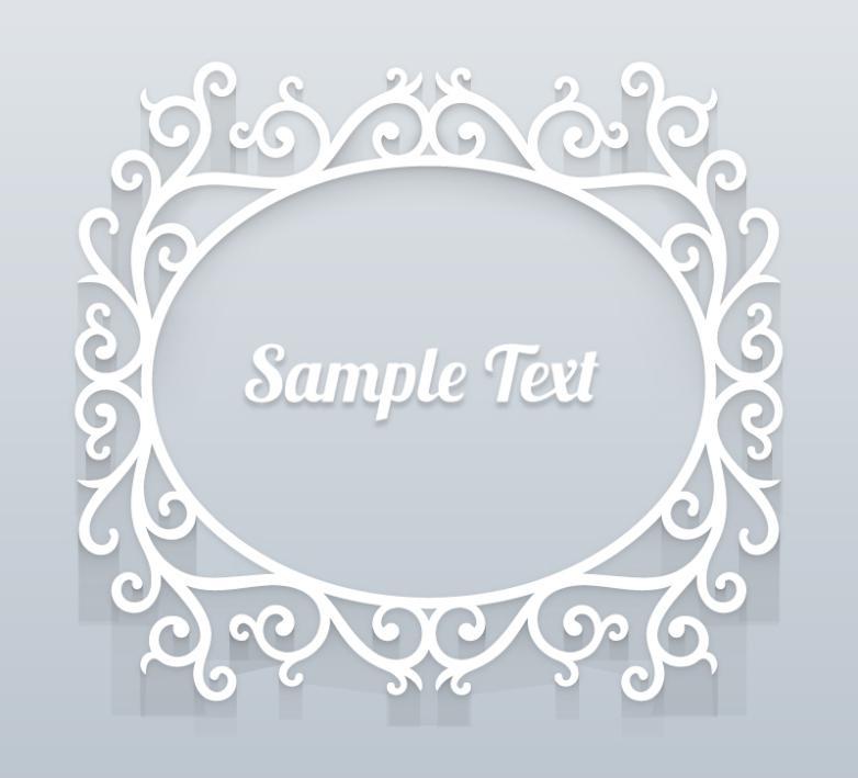 White Oval Pattern Frame Vector