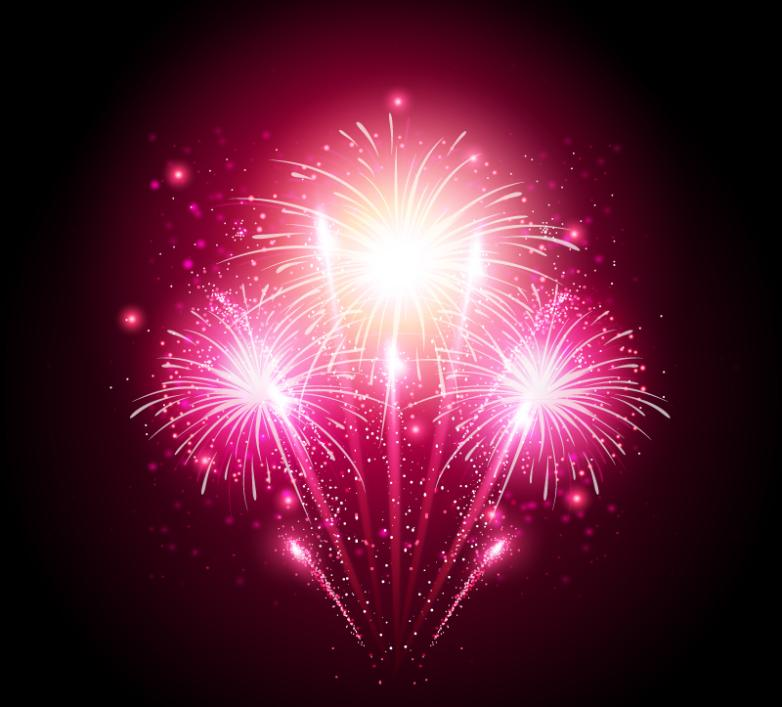 Pink Bright Fireworks Vector